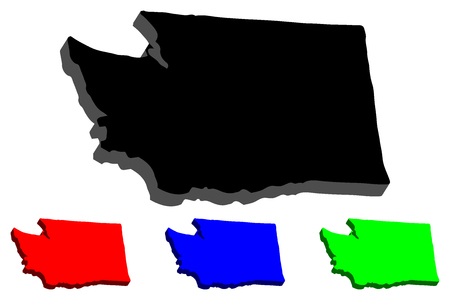 3D map of Washington (United States of America, The Evergreen State) - black, red, blue and green - vector illustration 向量圖像