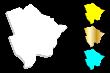 3D map of Botswana (Republic of Botswana) - white, yellow, blue and gold - vector illustration
