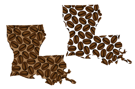 Louisiana (United States of America) -  map of coffee bean, Louisiana map made of coffee beans,