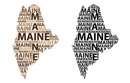 Sketch Maine (United States of America) letter text map, Maine map - in the shape of the continent, Map Maine - brown and black vector illustration