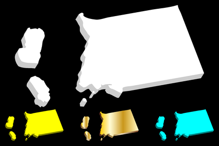 3D map of Equatorial Guinea (Republic of Equatorial Guinea) -  white, yellow, blue and gold - vector illustration  イラスト・ベクター素材