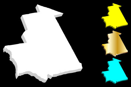 3D map of Mauritania (Islamic Republic of Mauritania) - white, yellow, blue and gold - vector illustration