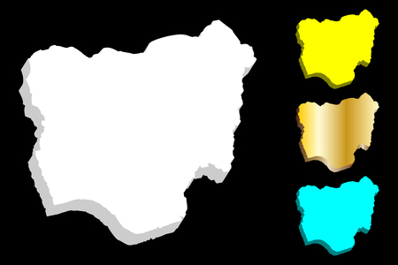 3D map of Nigeria (Federal Republic of Nigeria) - white, yellow, blue and gold - vector illustration 일러스트