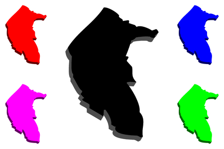 3D map of Australian Capital Territory (Australian states and territories, ACT, Federal Capital Territory) - black, red, purple, blue and green - vector illustration