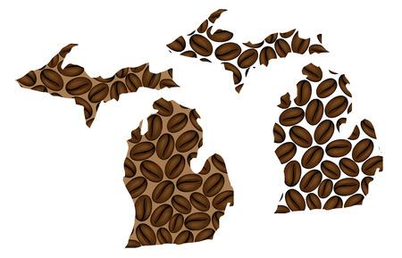 Michigan (United States of America) -  map of coffee bean, Michigan map made of coffee beans,