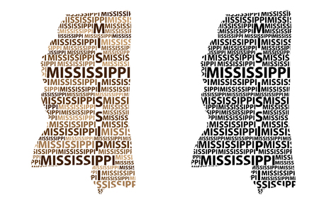 Sketch Mississippi (United States of America) letter text map, Mississippi map - in the shape of the continent, Map Mississippi - brown and black vector illustration