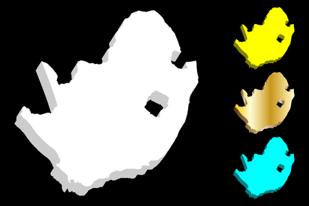 3D map of South Africa (Republic of South Africa, RSA) -  white, yellow, blue and gold - vector illustration