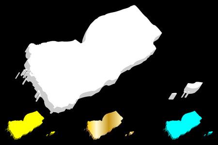 3D map of Yemen (Republic of Yemen) -  white, yellow, blue and gold - vector illustration Illustration