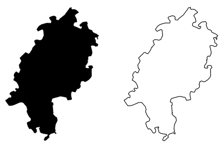 Hesse (Federal Republic of Germany, State of Germany, Hessia) map vector illustration, scribble sketch Hesse map