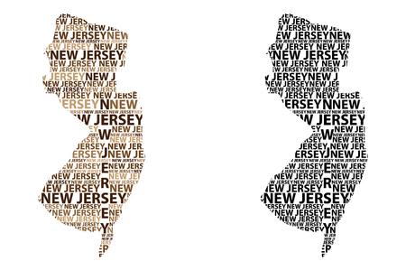 Sketch New Jersey (Stati Uniti d'America) lettera testo mappa, mappa del New Jersey - a forma di continente, mappa New Jersey - marrone e nero illustrazione vettoriale