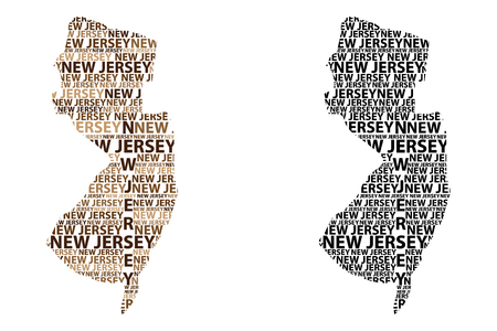 Sketch New Jersey (United States of America) letter text map, New Jersey map - in the shape of the continent, Map New Jersey - brown and black vector illustration