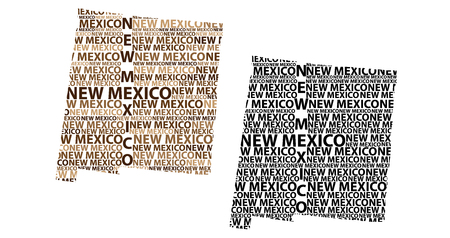 Sketch New Mexico (United States of America) letter text map, New Mexico map - in the shape of the continent, Map New Mexico - brown and black vector illustration