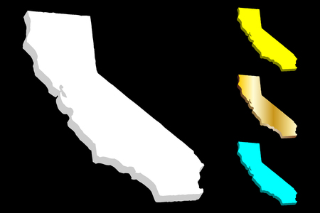 3D map of California (United States of America, The Golden State) - white, yellow, blue and gold - vector illustration