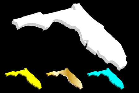 3D map of Florida (United States of America, The Sunshine State) - white, yellow, blue and gold - vector illustration
