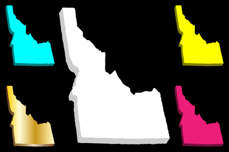 3D map of Idaho (United States of America, Gem State) - white, yellow, purple, blue and gold - vector illustration 向量圖像