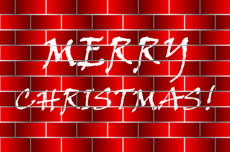 Merry christmas! inscription on the brick wall, White graffiti on red brick wall Illustration