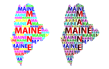 Sketch Maine (United States of America) letter text map, Maine map - in the shape of the continent, Map Maine - color vector illustration