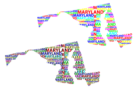 Sketch Maryland (United States of America) letter text map, Maryland map - in the shape of the continent, Map Maryland - color vector illustration