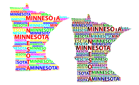 Sketch Minnesota (United States of America) letter text map, Minnesota map - in the shape of the continent, Map Minnesota - color vector illustration