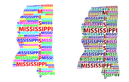 Sketch Mississippi (United States of America) letter text map, Mississippi map - in the shape of the continent, Map Mississippi - color vector illustration