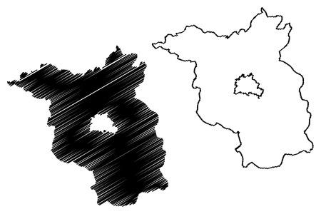 Brandenburg (Federal Republic of Germany, State of Germany) map vector illustration, scribble sketch Brandenburg map