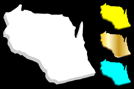 3D map of Wisconsin (United States of America) - white, yellow, blue and gold - vector illustration