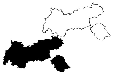 Tyrol (Republic of Austria) map vector illustration, scribble sketch Tyrol (state) map Иллюстрация