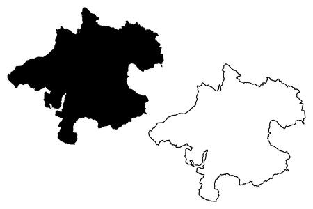 Upper Austria (Republic of Austria, Austro-Bavarian) map vector illustration, scribble sketch Upper Austria map Illustration