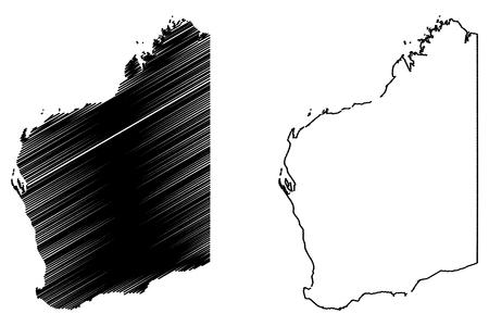 Western Australia (Australian states and territories, WA) map vector illustration, scribble sketch Western Australia map Vektorové ilustrace