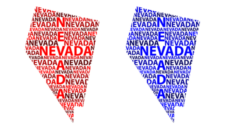 Sketch Nevada (United States of America) letter text map, Nevada map - in the shape of the continent, Map Nevada - red and blue vector illustration