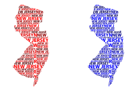 Sketch New Jersey (United States of America) letter text map, New Jersey map - in the shape of the continent, Map New Jersey - red and blue vector illustration