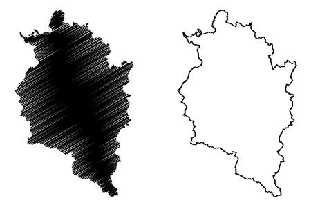 Vorarlberg (Republic of Austria) map vector illustration, scribble sketch Vorarlberg map