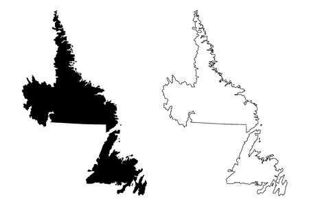 Terre-Neuve-et-Labrador (provinces et territoires du Canada) carte illustration vectorielle, croquis de griffonnage carte de Terre-Neuve-et-Labrador