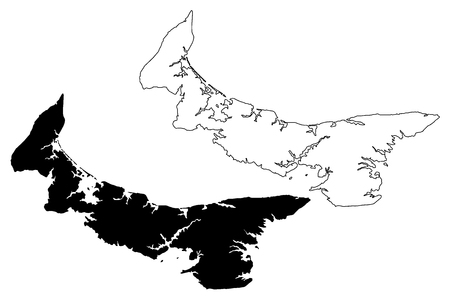 Prince Edward Island (provinces and territories of Canada, PEI or P.E.I.) map vector illustration, scribble sketch Prince Edward Island map Ilustração