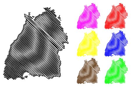 Baden-Wurttemberg (Federal Republic of Germany, State of Germany) map vector illustration, scribble sketch Baden-Wurttemberg (Baden-Württemberg) map Illusztráció