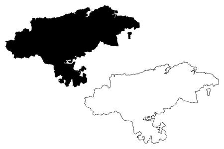Cantabria (Kingdom of Spain, Autonomous community) map vector illustration, scribble sketch Cantabria map