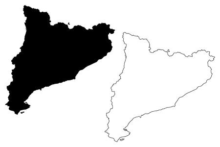 Catalonia (Kingdom of Spain, Autonomous community) map vector illustration, scribble sketch Catalonia map