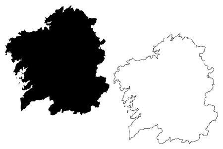 Galicia (Kingdom of Spain, Autonomous community) map vector illustration, scribble sketch Galicia (Spain) map