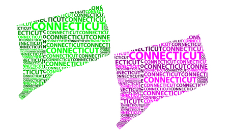 Sketch Connecticut (United States of America, The Constitution State, The Nutmeg State, The Provisions State, The Land of Steady Habits) letter text map, Connecticut map - in the shape of the continent, Map Connecticut - green and purple vector illustration