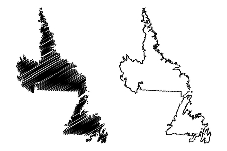 Newfoundland and Labrador (provinces and territories of Canada) map vector illustration, scribble sketch Newfoundland and Labrador map