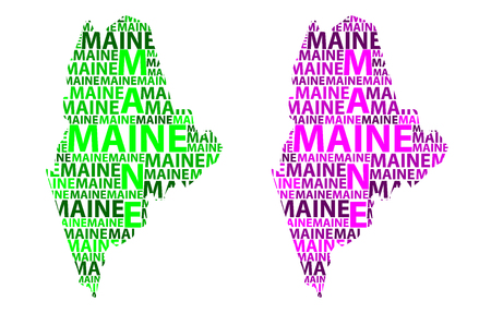 Sketch Maine (United States of America) letter text map, Maine map - in the shape of the continent, Map Maine - green and purple vector illustration Illustration