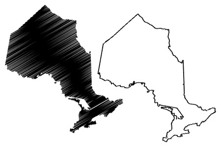 Ontario (provinces and territories of Canada) map vector illustration, scribble sketch Ontario map