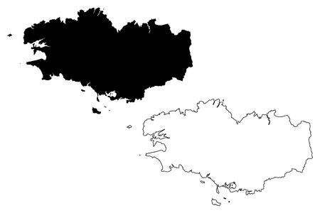 Illustrazione di vettore della mappa della regione della Bretagna (Francia, regione amministrativa), schizzo dello scarabocchio Mappa della Bretagna (regione amministrativa) Vettoriali