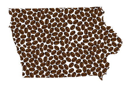 Iowa (United States of America) - map of coffee bean, Iowa map made of coffee beans,
