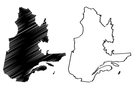 Quebec (provinces and territories of Canada) map vector illustration, scribble sketch Quebec map