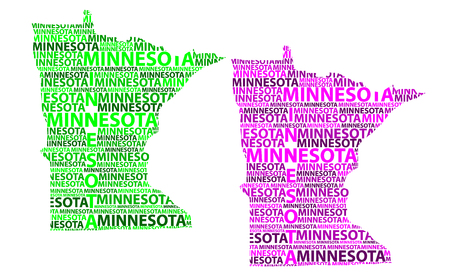 Sketch Minnesota (United States of America) letter text map, Minnesota map - in the shape of the continent, Map Minnesota - green and purple vector illustration Ilustração