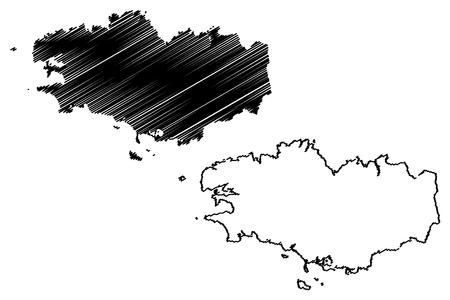 Region of Brittany (France, administrative region) map vector illustration, scribble sketch Brittany (administrative region) map Illustration
