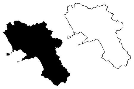 Campania (Autonomous region of Italy) map vector illustration, scribble sketch Campania map Ilustrace