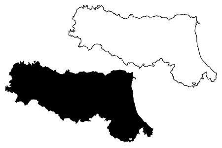 Emilia-Romagna (Autonomous region of Italy) map vector illustration, scribble sketch Emilia-Romagna map Vektoros illusztráció
