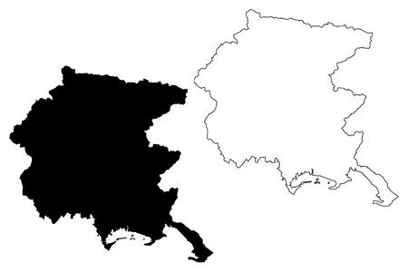 Illustrazione di vettore della mappa del Friuli-Venezia Giulia (regione autonoma dell'Italia), schizzo dello scarabocchio Mappa del Friuli-Venezia Giulia